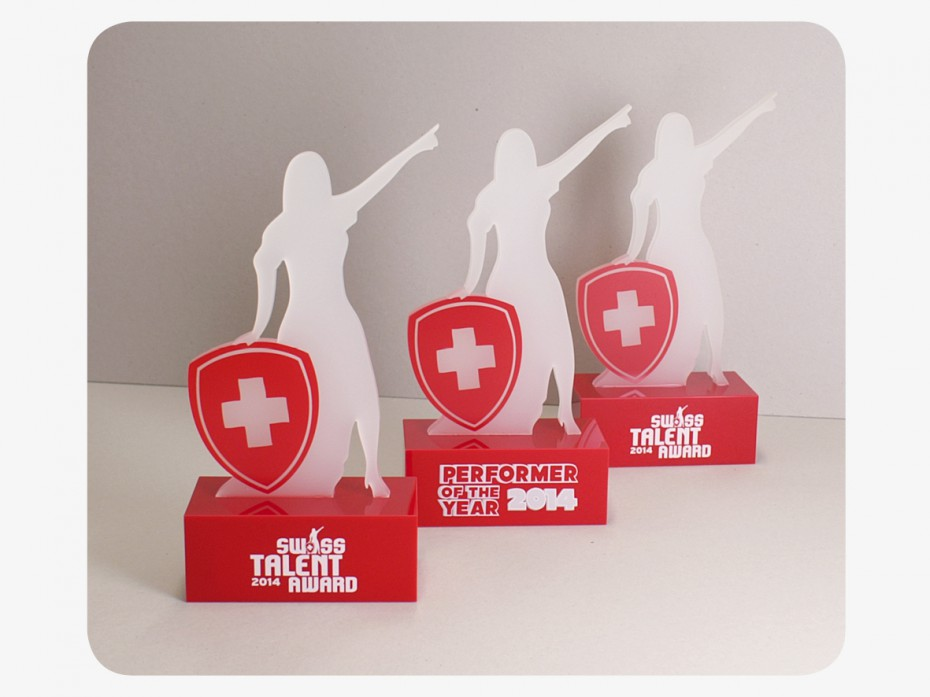 Awards aus Plexiglas für Swiss Talents Award